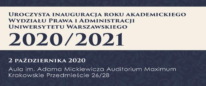 Inauguracja roku akademickiego 2020/2021 WPiA UW